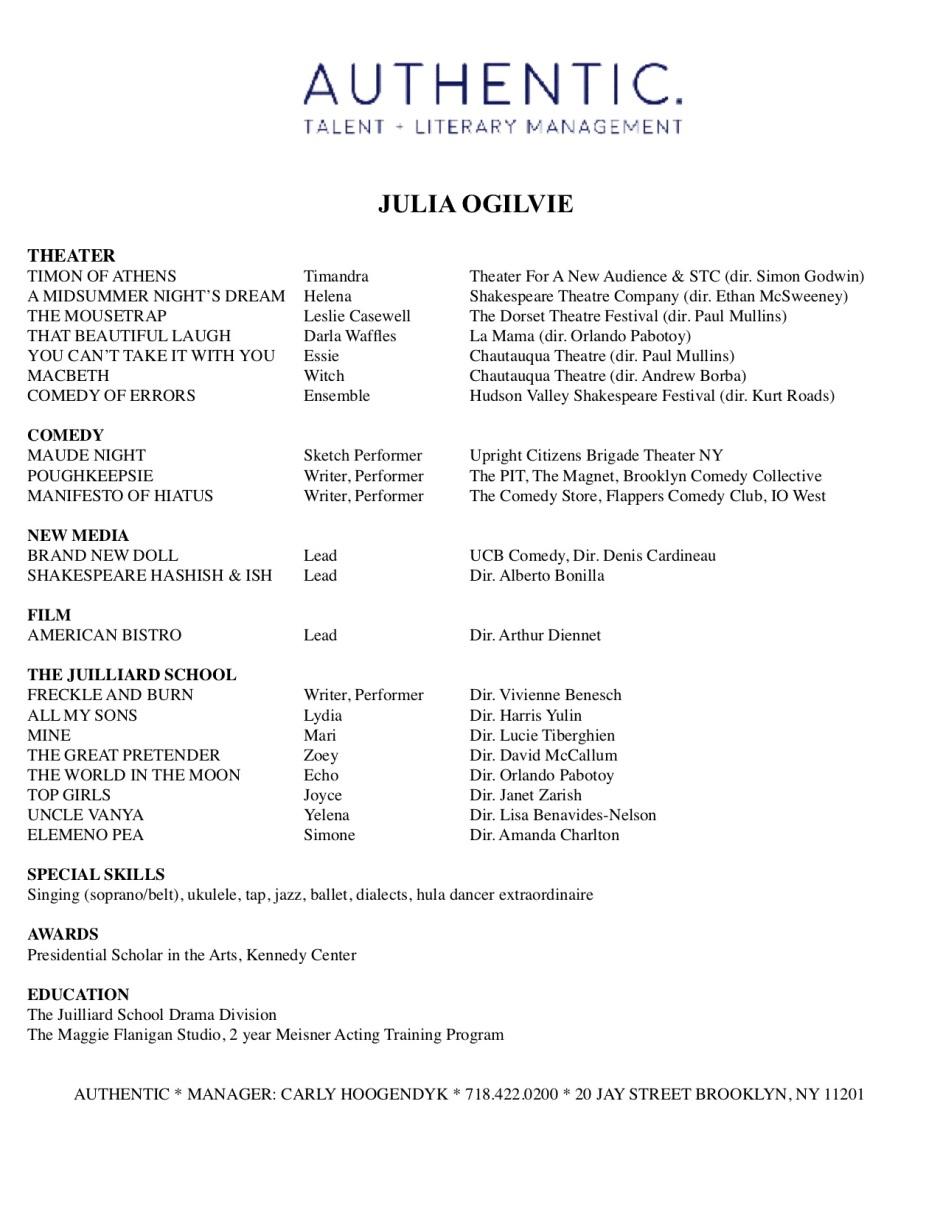 Julia Ogilvie Resume